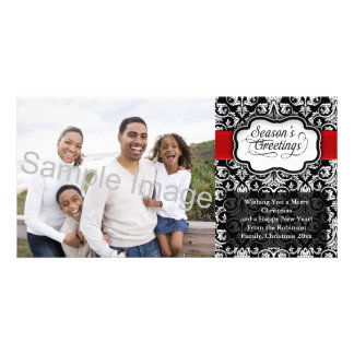 Red/Black Damask Holiday Custom Photo Card