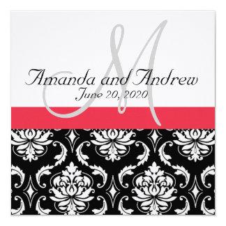 Red Black Damask Names Wedding Invitation