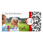 Red & Black Damask Our First Christmas Your Photo Photo Cards