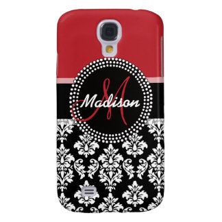 Red Black Damask Pattern, Your Name Monogram Galaxy S4 Case