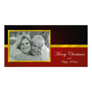 Red & Black Damask Photo Christmas Card Photo Cards