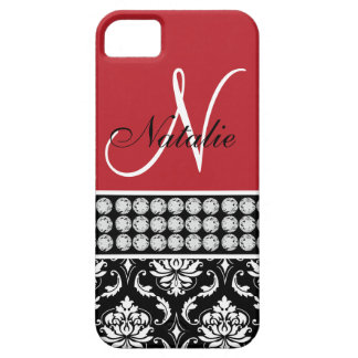 Red Black Damask Printed Diamonds iPhone 5 Case