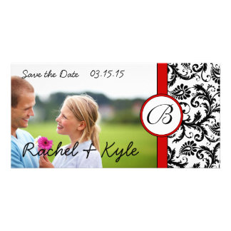 Red & Black Damask Save the Date Your Photo Photo Greeting Card