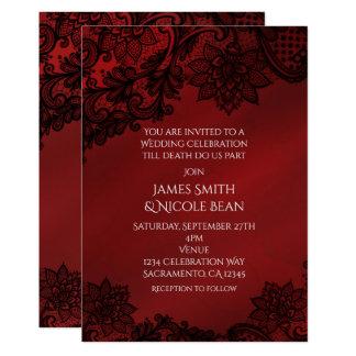 Red & Black Dark Elegance Lace Wedding Invitation