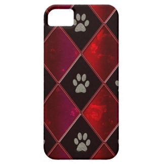 Red & Black Diamond Dog Paws iPhone 5 Case