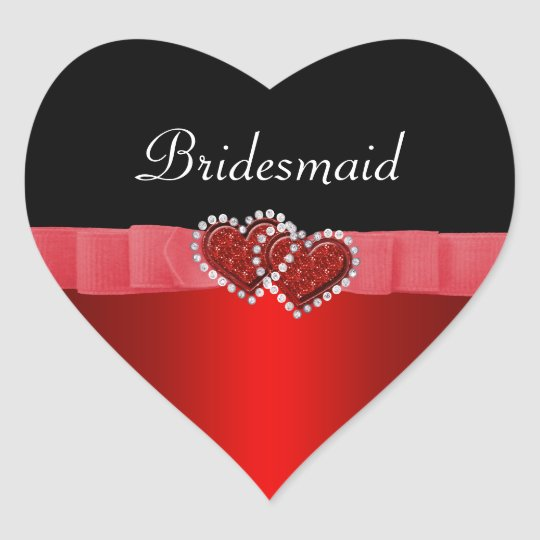 Red & Black Diamond Locking Hearts Wedding Heart Sticker