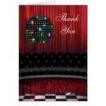 Red Black Disco Ball Thank You Cards