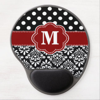 Red Black Dots Damask Monogram Mousepad Gel Mouse Mat