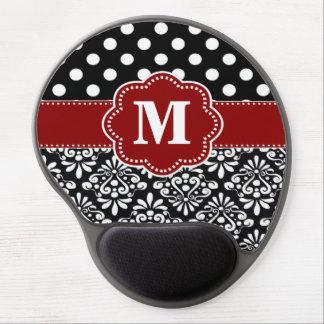 Red Black Dots Damask Monogram Mousepad Gel Mouse Pad
