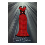 Red Black Dress Sweet 16 Party Custom Announcement