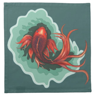 Red & Black Fantasy Koi Fish Napkin