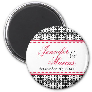 Red black filigree fancy wedding save the date 6 cm round magnet