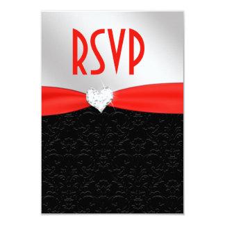 Red Black Floral Damask Diamond Heart RSVP 9 Cm X 13 Cm Invitation Card