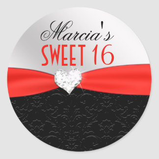 Red Black Floral Damask Diamond Heart Seal Round Sticker