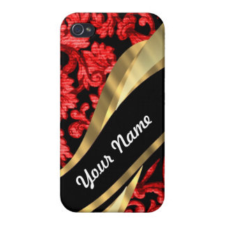 Red & black floral damask iPhone 4/4S cover