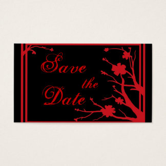 Red Black floral Save the Date business cards