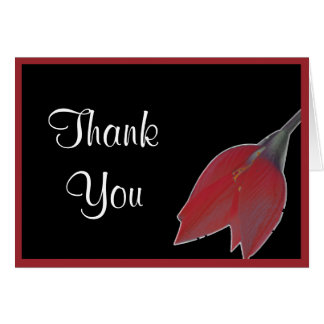 Red & Black Flower Thank You Note Greeting Card