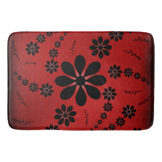 Red Black Flowers Bath Mat