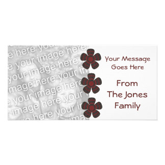 red black flowers personalized photo card