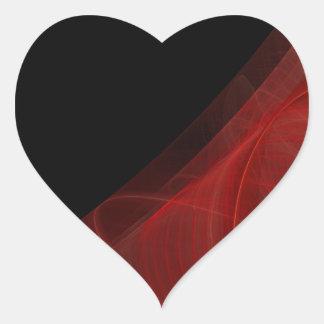 Red & Black Fractal Background Heart Sticker