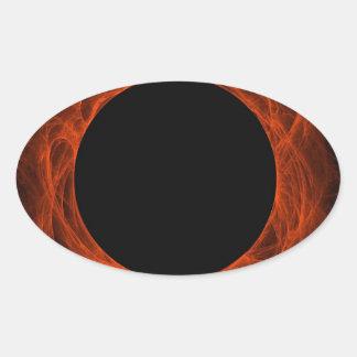 Red & Black Fractal Background Oval Sticker