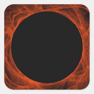 Red & Black Fractal Background Square Sticker