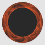 Red & BLack Fractal BackgroundRound Sticker