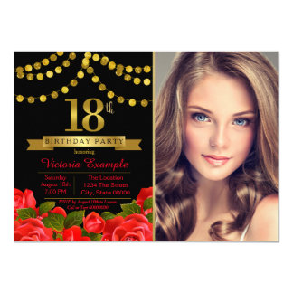 Red Black Gold 18th Birthday Party 11 Cm X 16 Cm Invitation Card