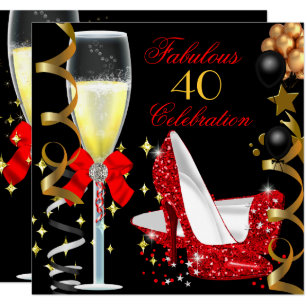 Red Black Gold 40 Fabulous 40th Birthday Party 2 Invitation