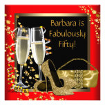 Red Black Gold Champagne 50th Birthday Party Personalized Announcements