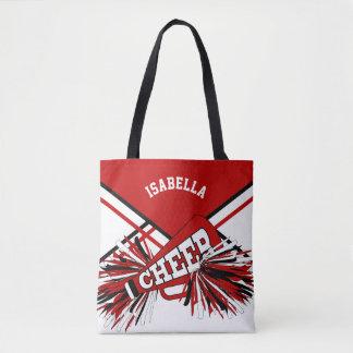 Red, Black & Gold Cheerleader Design Tote Bag