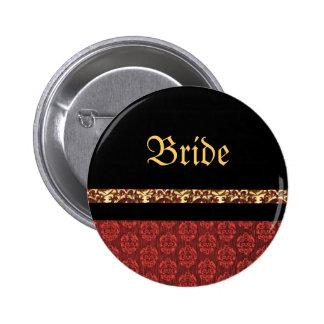 Red black gold damask wedding 6 cm round badge