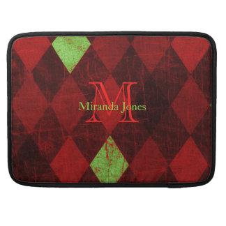 Red Black Gold Diamond Monogram Sleeves For MacBooks