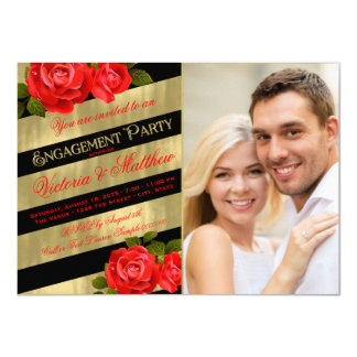 Red Black Gold Engagement Party 11 Cm X 16 Cm Invitation Card