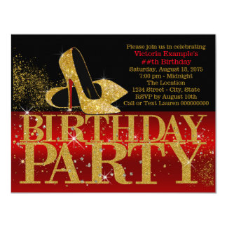 Red Black Gold High Heel Birthday 11 Cm X 14 Cm Invitation Card