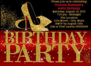 Red Black Gold High Heel Birthday Invitation