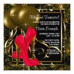 Red Black Gold High Heels Womans Birthday Party 13 Cm X 13 Cm Square Invitation Card