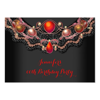 Red Black Gold Lace Jewelled Birthday Party Personalized Announcement