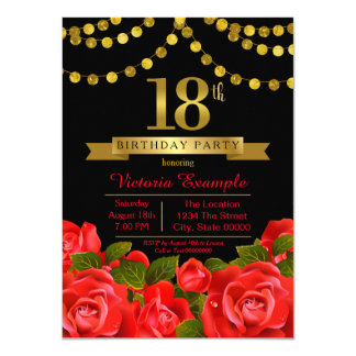Red Black Gold Red Rose 18th Birthday Party 11 Cm X 16 Cm Invitation Card