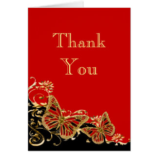 Red black gold wedding engagement note card