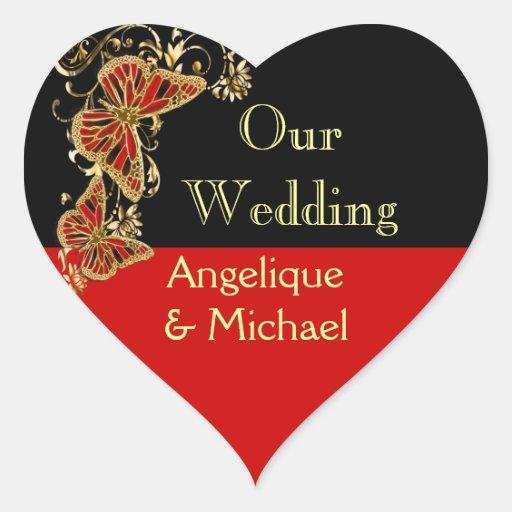 Red black gold wedding engagement heart sticker
