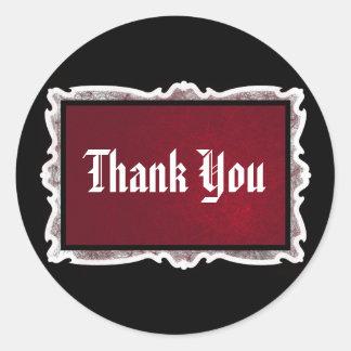 Red & Black Goth Wedding Thank You Stickers