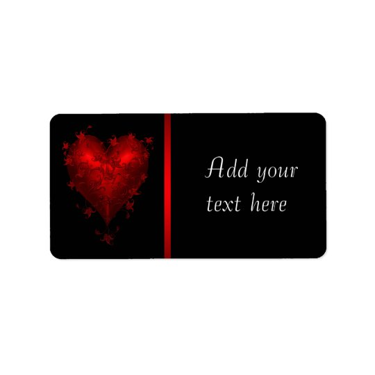 Red Black Gothic Red Heart Address Labels