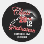 "Red black graduation ""class of"" announcement round sticker"