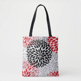 Red Black Gray Dahlia Floral Everything Bag Tote Bag
