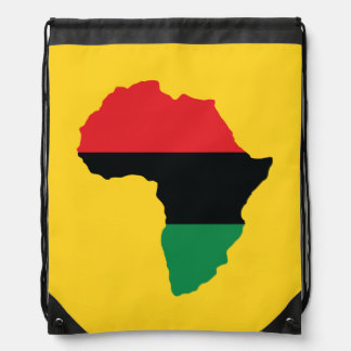 Red, Black & Green Africa Flag Drawstring Bag
