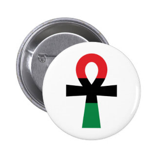 Red, Black & Green Ankh 6 Cm Round Badge