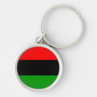 Red, Black, Green Pan African Flag Silver-Colored Round Key Ring