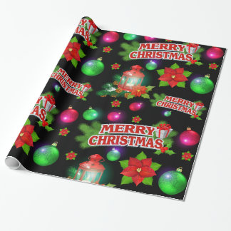 Red Black Green Santa Poinsettia Wrapping Paper