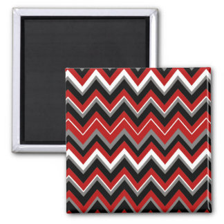 Red Black Grey and White Zig Zag Pattern Magnets